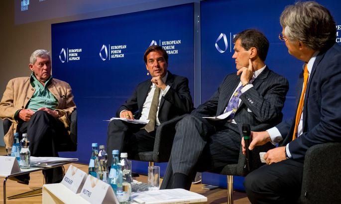 Hannes Androsch, Rainer Nowak, Markus Rodlauer und Jörg Wuttke (v.l.).