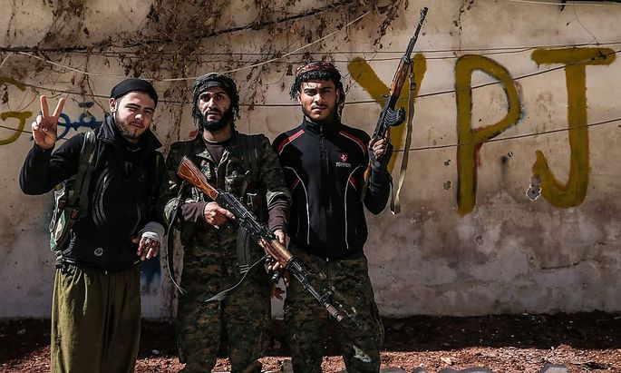 Kurdische Kämpfer in Aleppo.