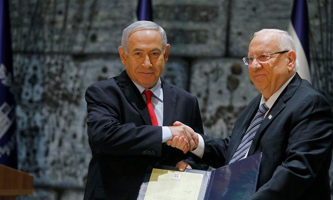 Benjamin Netanjahu und Präsident Reuven Rivlin.