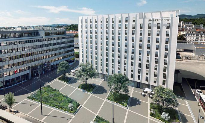 Mit Serviced Apartments (im Bild Smartments-Projekt in 1190 Wien) hoffen Entwickler wie GBI krisenresistenter zu werden.