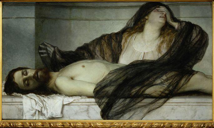 """Hier mit Schleier, aber mit offenem Haar: Arnold Böcklin, """"Trauer der Maria Magdalena an der Leiche Christi"""", 1867."""