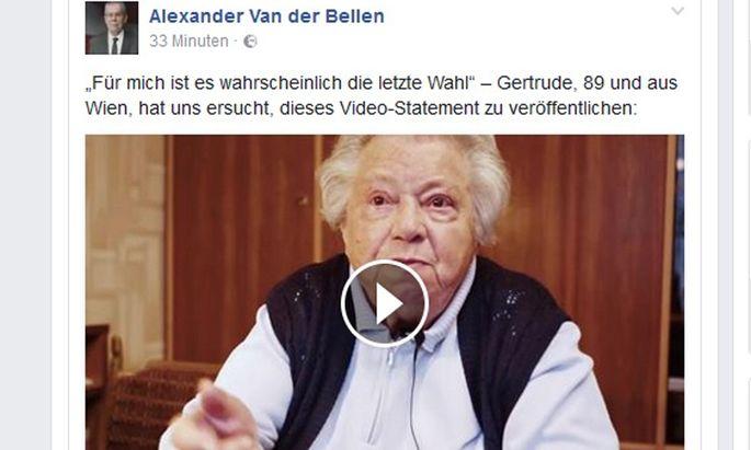 Video auf der Facebook-Seite von Alexander Van der Bellen