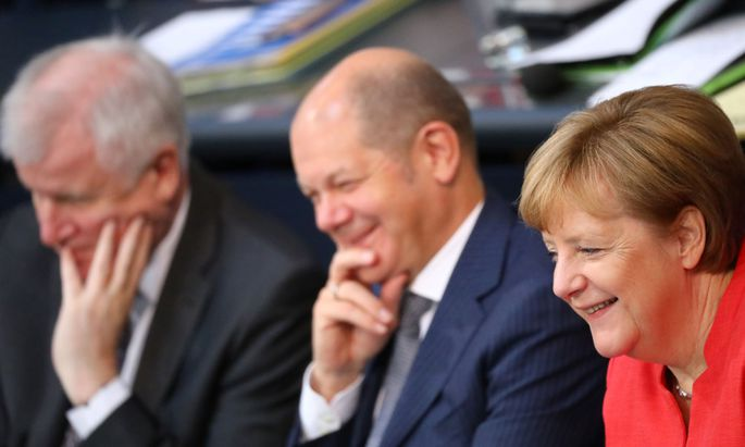 Aus dem Archiv (v.r.): die deutsche Kanzlerin Angela Merkel, Finanzminister Olaf Scholz und Innenminister Horst Seehofer