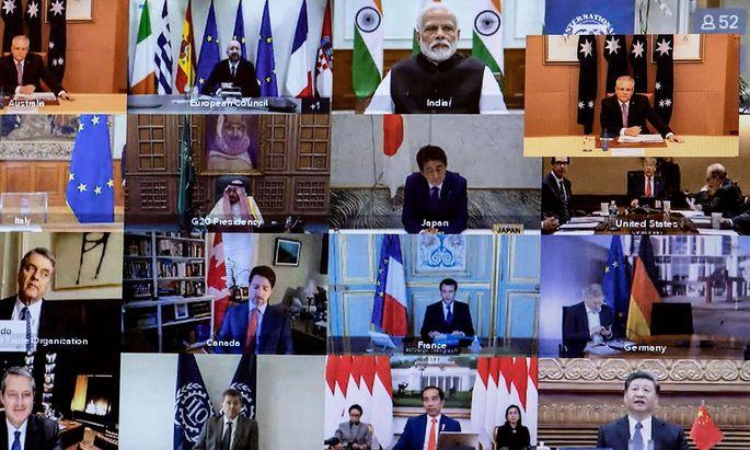 Ein Bild, das den Arbeitsalltag vieler Menschen weltweit derzeit prägt. Die G20-Staatschefs berieten in einer Videokonferenz über die Coronavirus-Krise.
