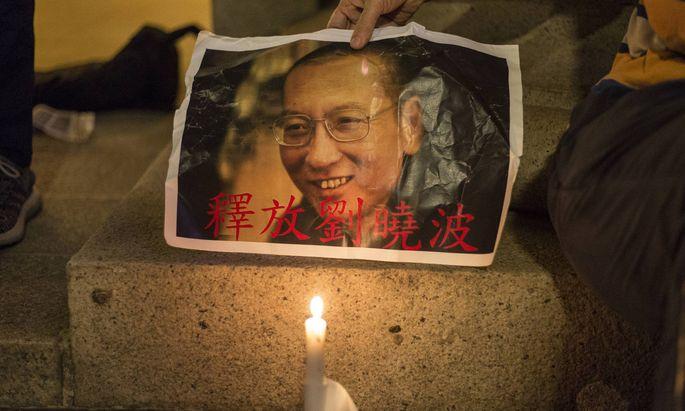 Protest für die Freilassung von Liu.
