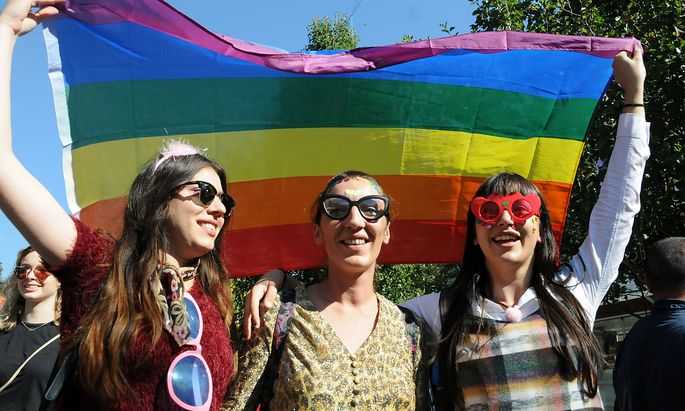 People take part in the second LGBT Pride Parade in Pristina