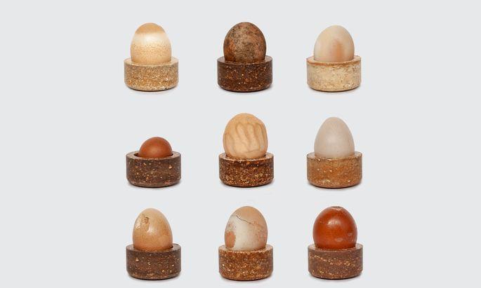 Zweite Chance: Aus Eierschalen und Eiweiß stellt Designerin Basse Sittgen Eierbecher her.