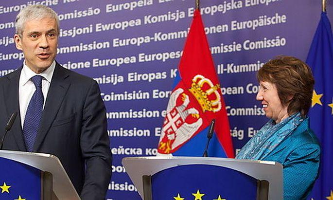 Serbiens Präsident Boris Tadic und Catherine
