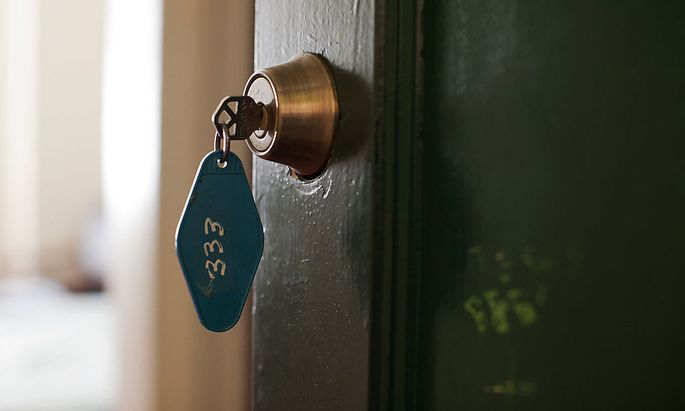A key hangs in the lock at room 333, one of the most haunted rooms of the Gadsden Hotel in Douglas