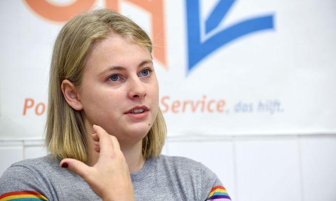 """""""Viel ÖH-Arbeit ist auch unsichtbar"""", sagt die aktuelle ÖH-Chefin Hannah Lutz (VSStÖ). An der ÖH-Spitze steht derzeit eine linke Dreierkoalition."""