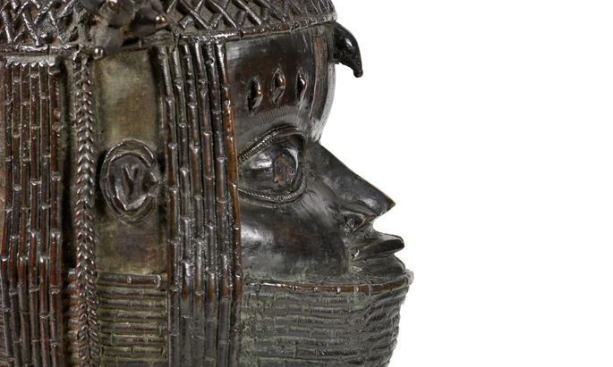 A view of the Benin bronze depicting the Oba of Benin is seen at The Sir Duncan Rice Library in Aberdeen