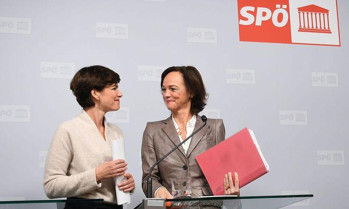 SPÖ-Chefin Pamela Rendi-Wagner und Ex-Bildungsministerin Sonja Hammerschmid bei der gemeinsamen Pressekonferenz