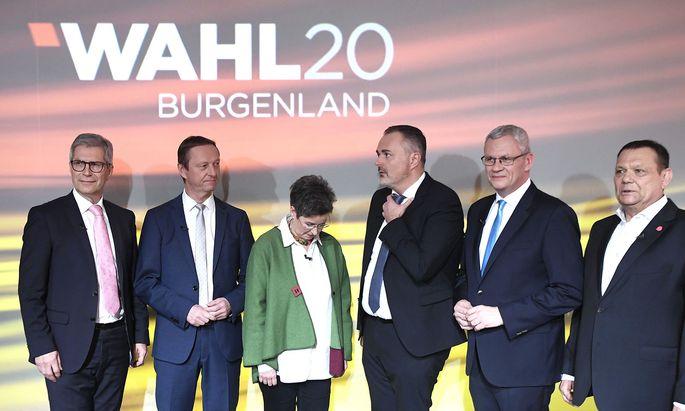 Die Spitzenpolitiker vor der Diskussion im ORF Burgenland: Kölly (LBL), Tschürtz (FP), Petrik (Grüne), Doskozil (SP), Steiner (VP) und Posch (Neos).