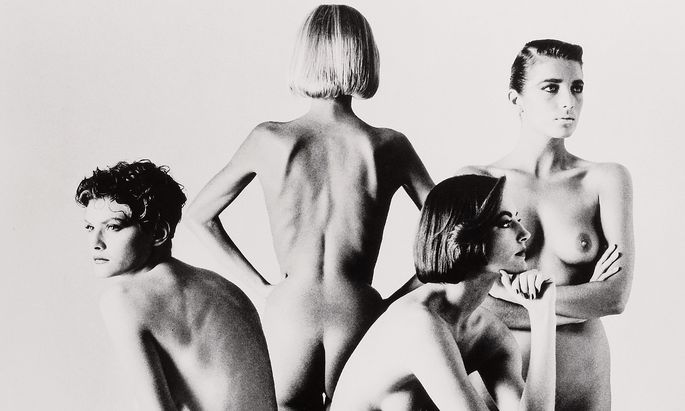 "Helmut Newtons ""Naked and Dressed, Fashion Models Sitting""."