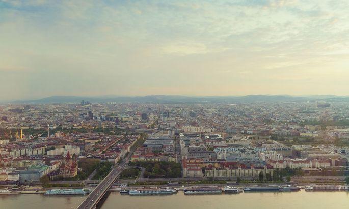 View of city from Kaisermuhlen, Melia Tower, Donau City, Vienna, Austria