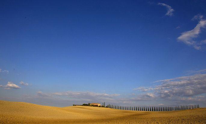 A view of fields in the world famous Crete Senesi area near Asciano