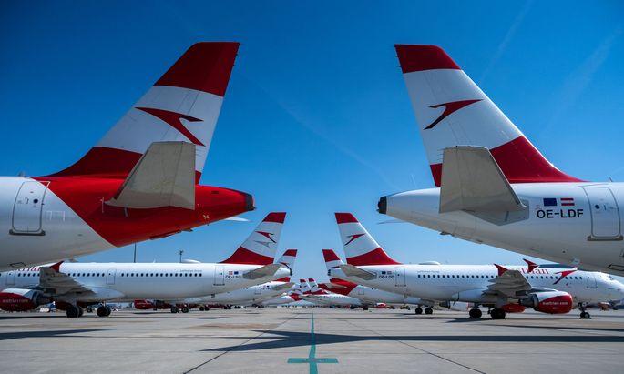 Die Flugzeuge der AUA sind zurzeit allesamt am Flughafen Wien geparkt.