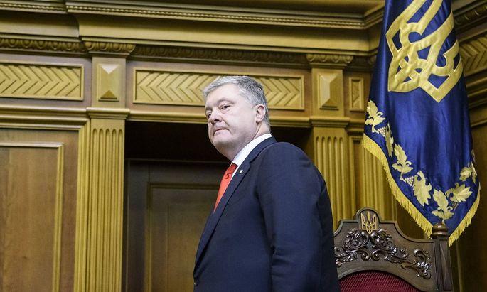 Der ukrainische Präsident Petro Poroschenko im Parlament
