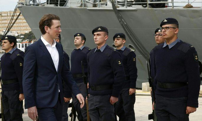Außenminister Sebastian Kurz in Malta beim Besuch der Frontex-Misson.