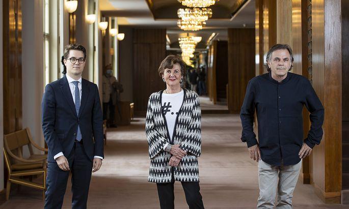 Der kaufmännische Direktor Lukas Crepaz, Festspielpräsidentin Helga Rabl-Stadler und Intendant Markus Hinterhäuser