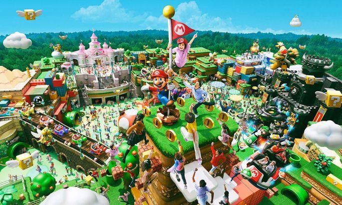 """Wunschloses Spieleglück: Werbung für den Themenpark """"Super Nintendo World""""."""