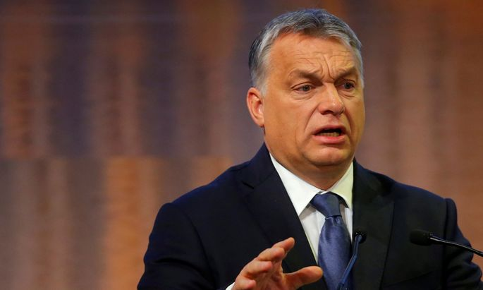 Hungarian Prime Minister Orban delivers a speech during the European Bank for Reconstruction and Development economic conference in Budapest