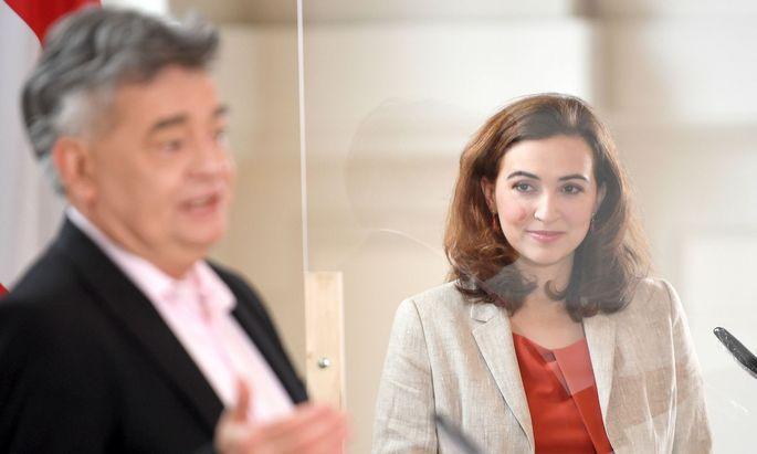Vizekanzler Werner Kogler und Justizministerin Alma Zadic (beide Grüne)