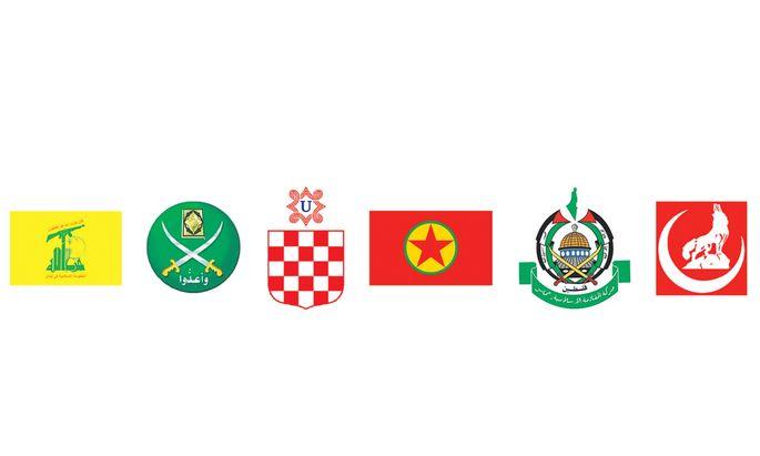 Künftig verboten: die Symbole von Hisbollah, Muslimbruderschaft, der kroatischen Ustascha, der Kurdischen Arbeiterpartei (PKK), der Hamas und der türkischen Grauen Wölfe (v. l.).