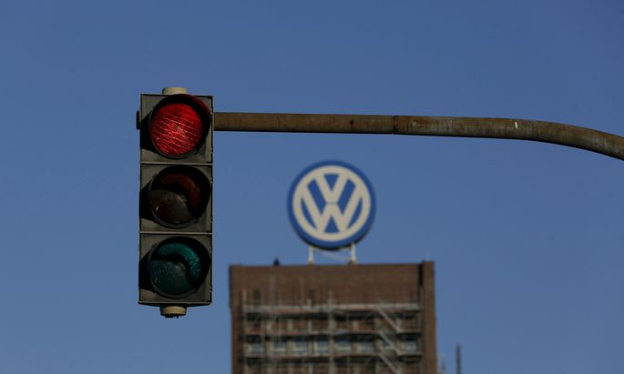 File photo of traffic light showing red next to the Volkswagen factory in Wolfsburg