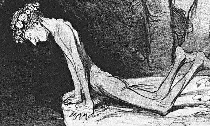 "Honoré Daumiers Druckgrafik ""Der schöne Narziss"" (1842)."
