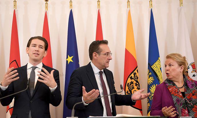 PRESSEFOYER NACH MINISTERRAT: KURZ / STRACHE / HARTINGER-KLEIN