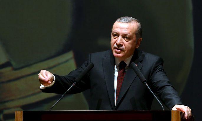 Presidential Palace handout photo shows Turkish President Erdogan addressing the war academy