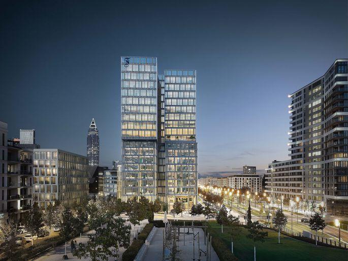 """Visualisierung: """"FAZ""""-Gebäude in Frankfurt."""