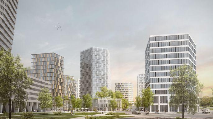 Visualisierung Post City Linz: Viel Grün soll den Nachhaltigkeitsanspruch unterstreichen