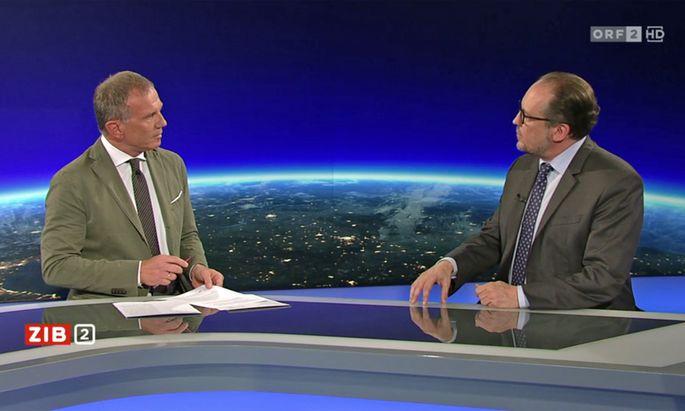 Beide sehr vehement: Außenminister Alexander Schallenberg und Armin Wolf.