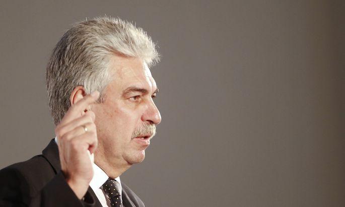 Austrian Finance Minister Schelling delivers a speech in Vienna