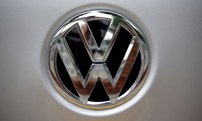 A Volkswagen logo is seen at a dealership in Seoul,