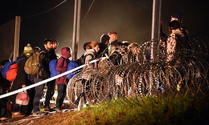 Eine der letzten Flüchtlinsgruppen, die bei Tovarnik in Kroatien noch nach Ungarn gelangen.