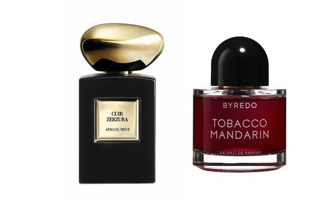 """Umnachtet. """"Tobacco Mandarin"""" von Byredo (50 ml um 245 Euro), """"Cuir Zerzura"""" von Armani Privé (50 ml um 170 Euro)."""