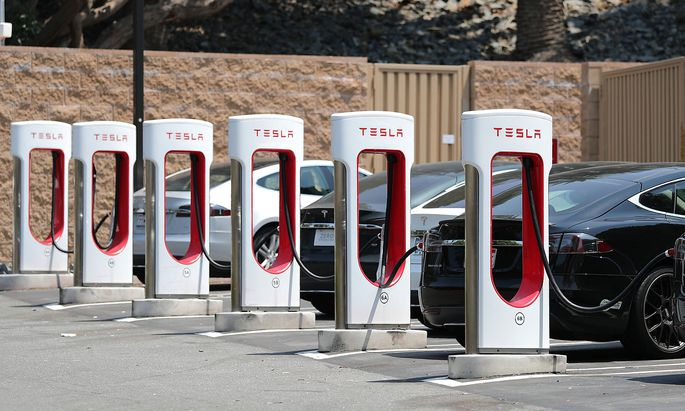 A Tesla electric car supercharger station is seen in Los Angeles