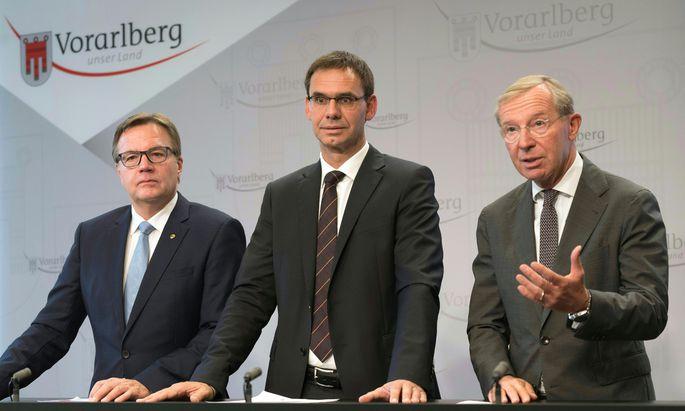 Landeschefs von Tirol, Vorarlberg, Salzburg: Günther Platter, Markus Wallner und Wilfried Haslauer (v. l.).