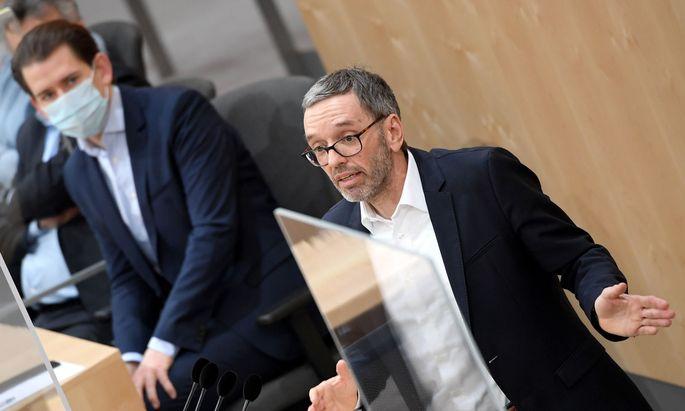 Bundeskanzler Sebastian Kurz (ÖVP) und FPÖ-Klubobmann Herbert Kickl