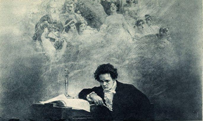 A. Temple, Komponist Ludwig van Beethoven bei der Arbeit