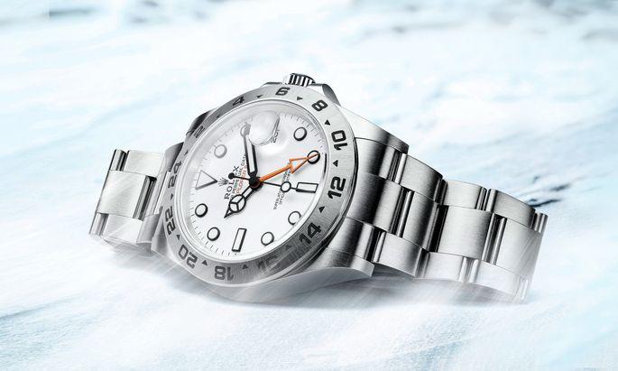 Die Uhr für Eis und Schnee. Das Modell mit weißem Zifferblatt erinnert auch optisch an die weiten Schneeflächen der Polarregionen.