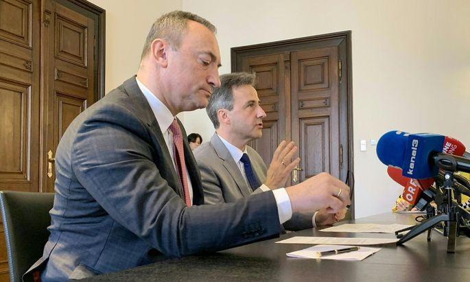 Der Grazer Vizebürgermeister Mario Eustacchio (FPÖ) und der Grazer Bürgermeister Siegfried Nagl (ÖVP)