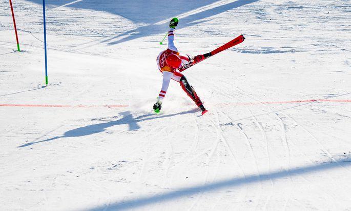 Stilvoll mit vollem Risiko: Marcel Hirscher gewann Gold in der Kombination.