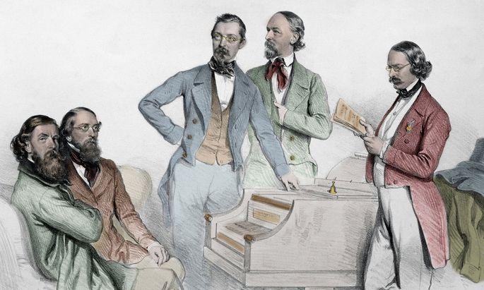 Franz von Suppè, umringt von Kollegen.