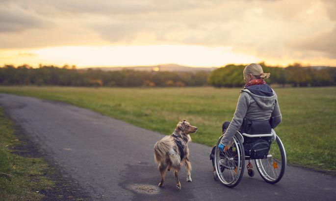 Mit dem Rollstuhl unterwegs. Forscher arbeiten an neuen Therapien, die das Leben erleichtern und fortschreitende Schäden bremsen sollen.