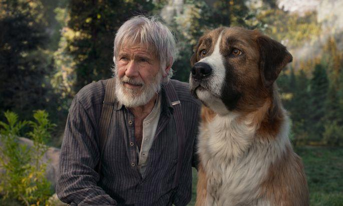 """Harrison Ford mit einem computeranimierten Hund, der an das Spiel """"Nintendogs"""" erinnert."""