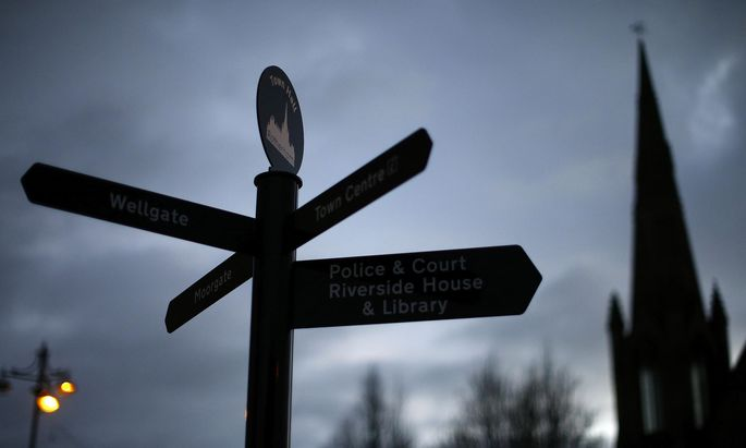 A sign is seen near the Town Hall in Rotherham
